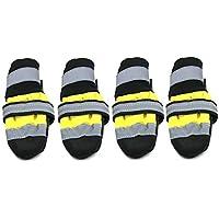 Zapatos para Mascotas de Invierno Botas Reflectantes Impermeables Lluvia Antideslizante Botas para la Nieve Calzado Calcetines Gruesos cálidos Botines para Gatos Perros - Amarillo M
