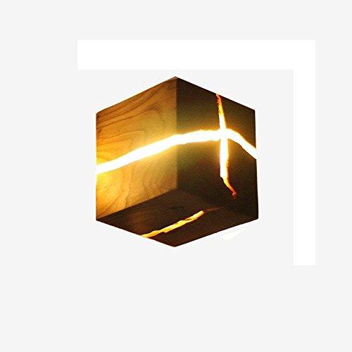 EGLONE Nordic Minimalistischen Stil Kreative Hölzerne Riss Wandleuchte Nachtlicht Warmweiß Holz Wandleuchte LED Wandlampe Nachttischlampe Innenkorridor Lichter 8 * 8 * 8 cm(3.14 * 3.14 * 3.14 Zoll) (Hölzerne Lampe)