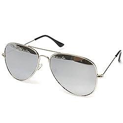 Silver Kartz UV400 Protection Classic Aviator Unisex Sunglasses (wy126|30|Off-White)