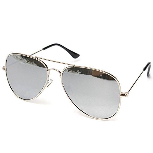 Silver Kartz UV400 Protection Classic Aviator Unisex Sunglasses (wy126|30|Off-White)