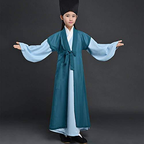 Mädchen Verkleiden Chinesische Kostüm - GUAN Kinderkostüm Buch Jungenkostüme Dreiteilige atmungsaktive chinesische Schulkostüme Jungen Hanfu