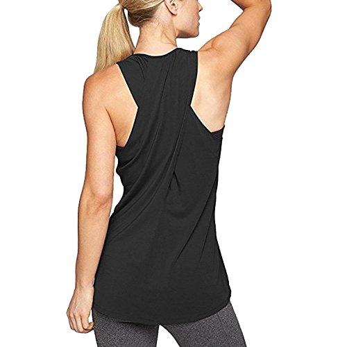 Damen Sportoberteile, 2018 heiße Yoga Shirt Running Tank Tops Weste Fitnessstudio Training Cross Racerback Ärmelloses T-Shirt Activewear von L'ananas (Schwarz, CN-M/EU-36)