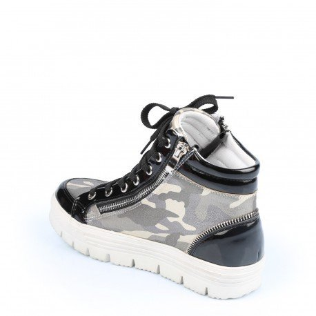 Ideal Shoes - Baskets montantes style militaire Judy Noir