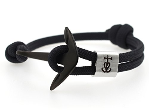 KOMIMAR Anker Armband GLAUBE-LIEBE-HOFFNUNG mit persönlicher PRÄGUNG / GRAVUR in vielen Anker & Tau Farben - cool lässiger Surf Style -...
