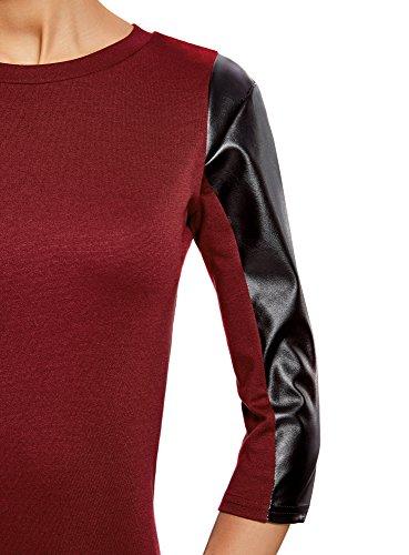 oodji Ultra Damen Kleid mit Kunstleder-Verzierung Rot (4901B)