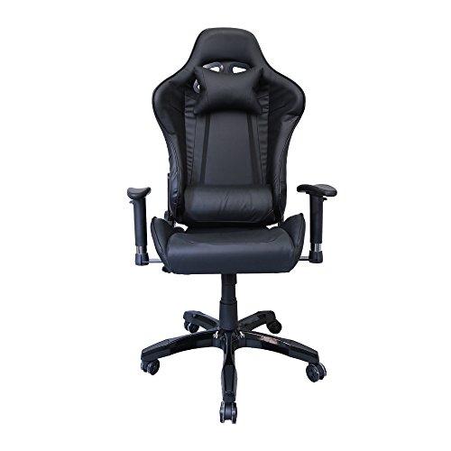 huigou HG Silla Giratoria De Oficina Gaming Chair Apoyabrazos Acolchados Silla Racing (Negro)