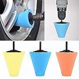 Voberry 6Mm Car Sponge Cone Metal Foam Buffing Polishing Cone Shaped Pads for Wheels Random