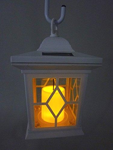 LED Solar-Laterne Romantica weiß mit Kerzen-Flackerlicht Solarleuchte Dekoration Garten Terrasse Wegleuchte Dekoration Balkon Pool Teich Treppe lampe