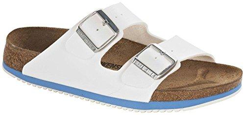 Birkenstock 230124-37 - normales Fußsbett Superlauf-schuh Arizona Birko-Flor White Blue Größe 37 - Normales Fußbett (Tool 37)