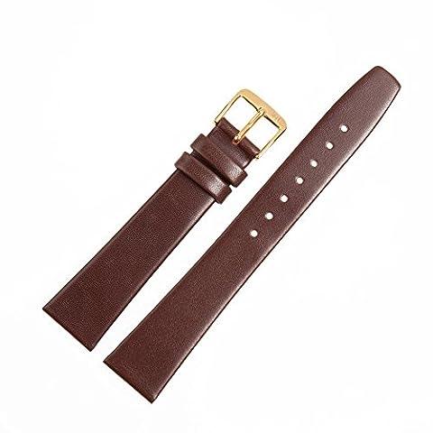 Uhrenarmband 10mm Leder braun glatt - Lederband mit trapezförmigem Bandverlauf - Ersatzarmband passend zu klassischen & modernen Uhren - Marburger Uhrenarmbänder seit 1945 - dunkelbraun / gold