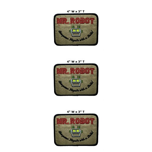 Applikation Classic TV Movie Mr Robot Cosplay Abzeichen bestickt zum Aufbügeln oder Aufnähen, 3er-Pack, Geschenkset