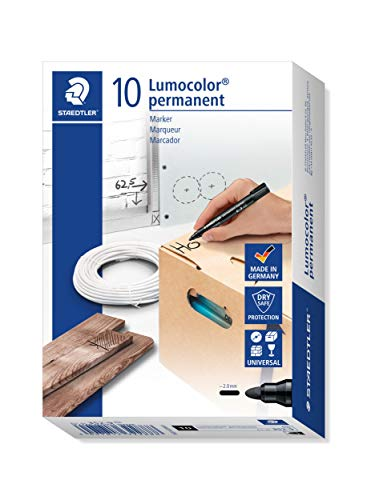 Staedtler 352-9 Lumocolor Marker permanent Rundspitze, 2 mm, 10 Stück, schwarz