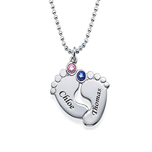 Regalo per la festa della mamma - collana di piedi incisi personalizzati in argento sterling con qualsiasi nome e birthstone