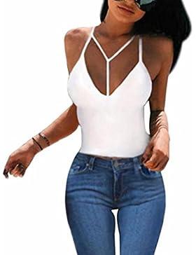 SKY Especially !!Mujer La Sin mangas envuelto arnés de pecho Bra Crop Bustier Corset Tops Tank Top Blouse T-Shirt...