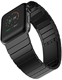Elobeth Apple Watch Band Stainless Steel Watch Strap Link Bracelet with Butterfly Closure Replacement Band for Apple Watch All 42mm Models (Black Link Band)