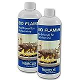 BIO FLAMME 2x 1000 ml (7070) - Bio-Alkohol Brennstoff Alkohol Brennalkohol Brennspiritus Spiritus Lampenbrennstoff Bio-Ethanol für Tischkamine - ABACUS