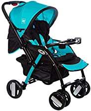 Mee Mee Baby Pram with Adjustable Seating Positions and Reversible Handle (Black Light Blue)