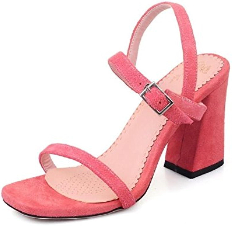 13ed10deb3 WEIQI-Sandali da da da Donna Estivi Fibbia Sandali con Tacco Ruvido  Antiscivolo rosa,