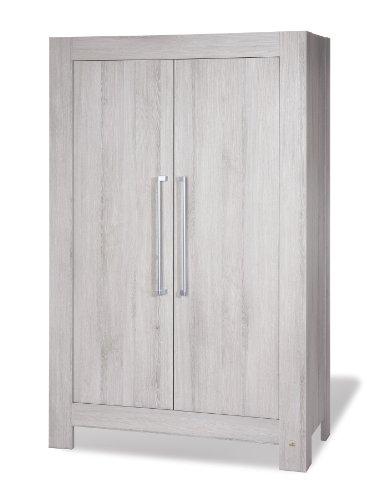 Preisvergleich Produktbild Pinolino Kleiderschrank Somnio, moderner, 2-türiger Kleiderschrank, Esche schilfgrau mit Echtholzstruktur, Maße 110 x 57 x 178 cm (Art.-Nr. 14 00 71)