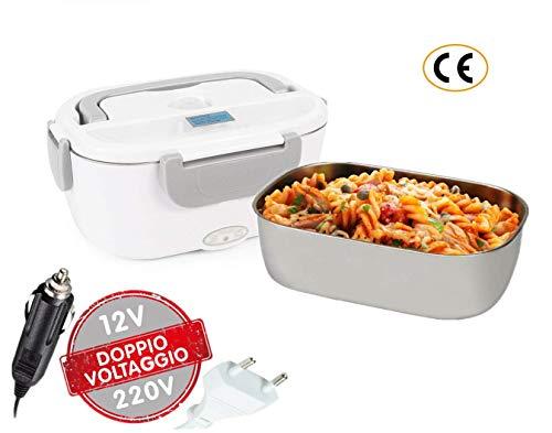 Boîte Chauffante Lunch Box Électrique à Lunch Boîte 2 en 1, Acier Inoxydable Boîte à Repas 40w...