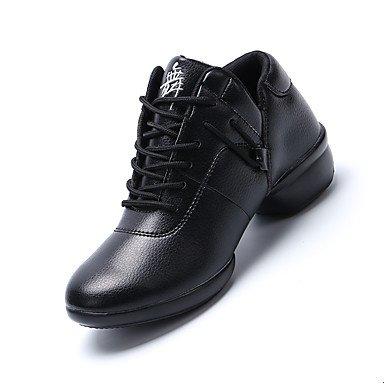 Scarpe da ballo-Non personalizzabile-Da donna-Danza moderna-Quadrato-Di pelle-Nero Rosso Bianco Black