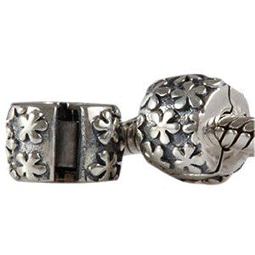 Andante Stones Argento massiccio 925 originale Perlina Clip Stopper con motivo floreale Ciondolo da donna Charm Bead per bracciali e collane europei
