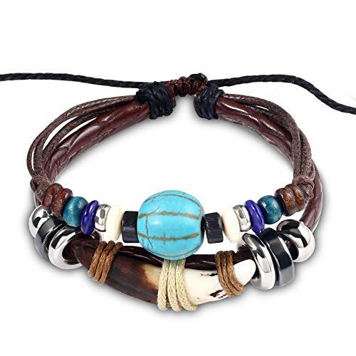 MHOOOA Mode Charme Schmuck Handarbeit Weben Perlen Lederarmbänder Für Frauen Vintage Multi-Layer Zahn Einstellbare Armband