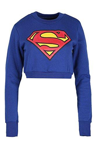 Oops Outlet Damen Batman Superman Sweatshirt Damen Superheld Abgeschnitten Oberteile Pullover Fleece Superman Königsblau