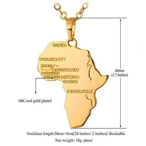weiwei Afrika Karte Anhänger Halskette Gold/schwarz Gun Plated Unisex Damen/Herren Mode afrikanischen Stil Anhänger (Gold Afrika-karte Anhänger)