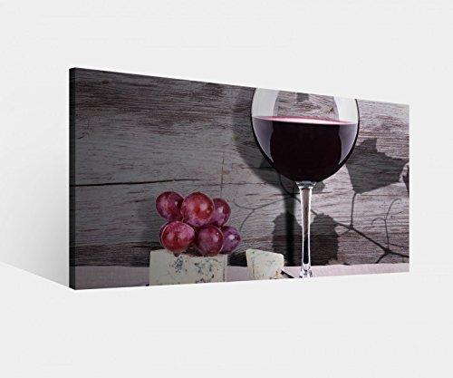 Leinwandbild Wein Glas Trauben Essen Küche Vintage Leinwand Bild Bilder Wandbild Holz Leinwandbilder vom Hersteller 9W1184, Leinwand Größe 1:80x40cm (Trauben Bilder Wein Und)