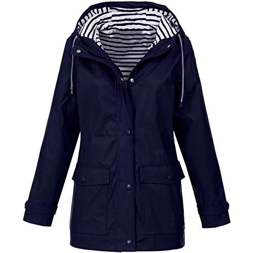 LUGOW Jacke Damen Jacken Regenjacke Outdoor Wasserdichter Regenmantel mit Kapuze Winddicht Reißverschluss Outwear Oberbekleidung Jacket...
