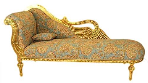 Casa Padrino Barock Luxus Chaiselongue Antik Gold-Türkis-Rot Muster/Gold - Golden Wings - Luxus...