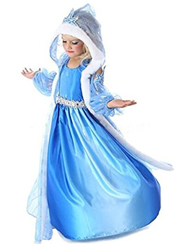(Ninimour Mächen Eiskönigin Eiskönigin Prinzessin Cosplay Fasching Kostüm Tutu Kleid 3-8 Jahre Alt (120, X-Blau))