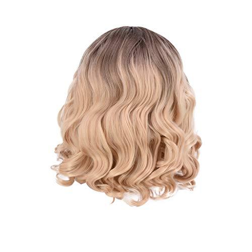 Echthaar Lace Wigs für Frauen,Rifuli® Natürliche lockige synthetische Perücke sexy kurze gelbe Welle gewellte Perücken Natural Wavy Wigs Kurze Haarperücke