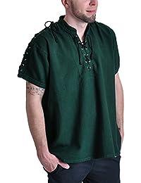 Chemise médiévale pour homme manches courtes col droit cordelette coton vert
