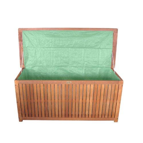 Massive Auflagenbox Holz mit Innentasche Kissenbox Gartenbox Hartholz - 2
