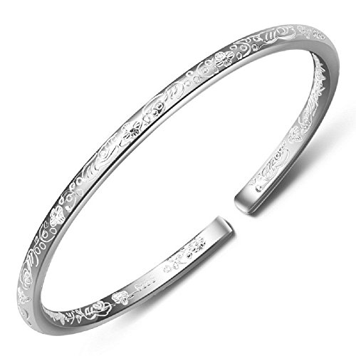 womens-999-sterling-silver-flower-carved-cuff-bracelets-25g-weight-for-wedding-gift