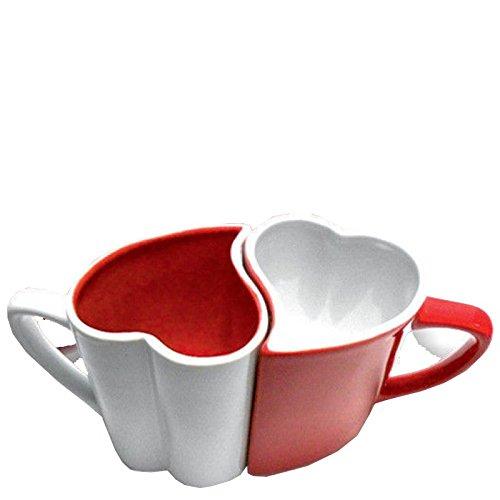 Set di 2 tazze a forma di cuore, rosso e bianco