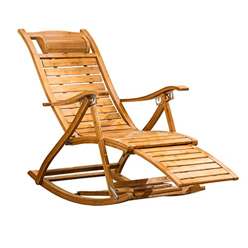 Lw yychair Schaukelstuhl Schaukelstuhl mit Armlehnen zum Klappen von Bambus für Garten oder Terrasse in natürlichem Outdoor oder Indoor