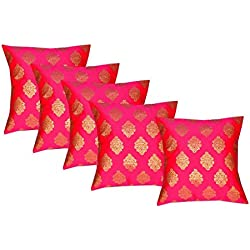 Durable Dupian Silk Decorative Square jacquard Pillow Cover Cushion Case Sofa Chair Seat Pillowcase 12 X 12 Inches set of 5