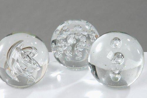 Briefbeschwerer Clear, Glasbriefbeschwerer Glaskugel, Ø 9 cm schwer,( 3 fach sortiert, Vorauswahl nicht möglich! ein Briefbeschwerer)