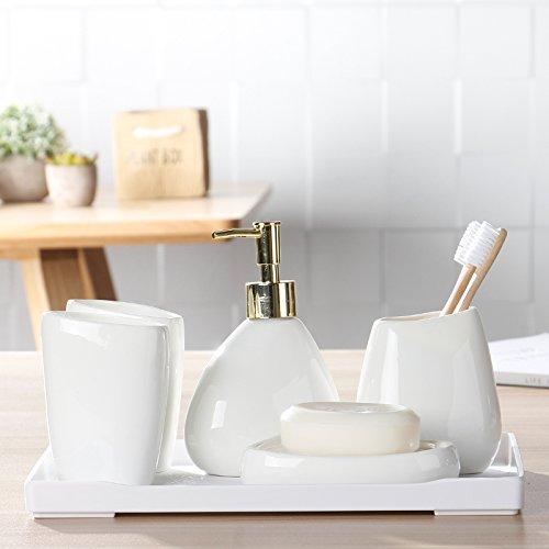 hjky Bad Bad Set Keramik pfannen in fünf Stück Set reinigen Set Teller Rückspülfilter mit Platte von Seife A Zahnbürste mit einem Chassis A (Seashell Dusche Vorhang Haken)