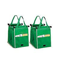MiYan Shopping bag FOLDING REUSABLE Recycled Shopping Cart Supermarket Pouches with Clips Easy Convenient 2 in Set