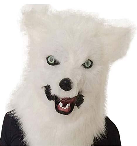 Head Kostüm Fox - LPP Halloween-Maske, Fox Head Cover Wird den Mund Plüsch bewegen, Blister Animal Party Requisiten gelb grau weiß White