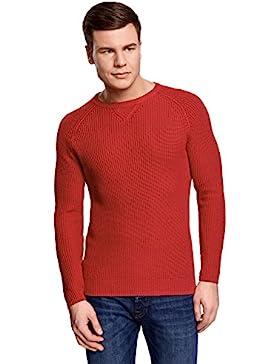[Patrocinado]oodji Ultra Hombre Jersey de Algodón con Cuello Redondo