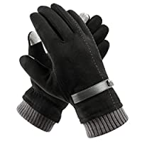 Womens Winter Warm Gloves Touchscreen - Acdyion 2018 New Design Super Soft Suede Leather Gloves Outdoor Windproof Driving Gloves for Thick Fleece Lining (BLACK, ONE SIZE)