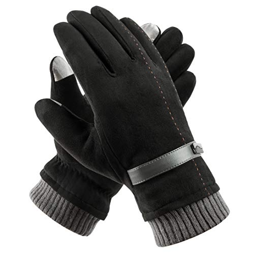 Acdyion Handschuhe Winter Damen Touchscreen Wildleder super weiche Handschuhe Outdoor Fahrradhandschuhe dickes Fleecefutter Wildlederhandschuhe (Schwarz)