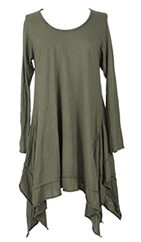 Ladies Womens Italian Lagenlook Quirky Long Sleeves Plain Asymmetric Hem Tunic Top Blouse One Size UK 8-14 (One Size, Khaki)