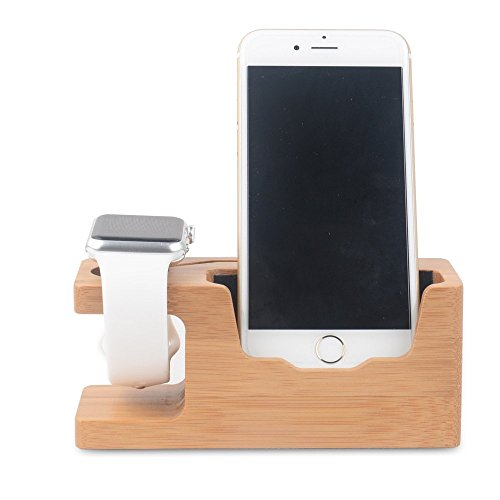 Apple Watch Stand, WOWO iWatch Bamboo Wood Charging Stand Bracket Docking Station Stock Cradle Holder for Apple Watch and iPhone 5 / 5S / 5C / 6 / 6 PLUS /6S/ 6S Plus by WOWO