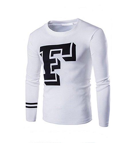 BOMOVO Herren Mode Letters gedruckt langärmeligen Langarmshirt Weiß